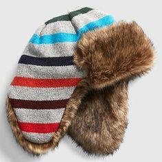 02580a11 (eBay Sponsored) Baby Gap NWT Crazy Stripe Faux Fur Lined Trapper Hat XS/