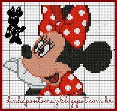 Dinha Ponto Cruz: Gráfico da Minnie Mouse em ponto cruz