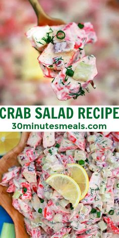 Crab Salad is a seafood-inspired salad loaded with chunks of imitation crab, light and creamy dressing, and celery for crunch! #crabsalad #salad #sidedish #30minutesmeals Easy Delicious Recipes, Easy Salads, Healthy Salad Recipes, Crab Salad, Pasta Salad, Older Women Hairstyles, Chopped Salad, Dinner Salads, 30 Minute Meals
