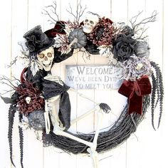 28 Skeleton Halloween wreath Gothic Skeleton Halloween