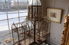 Turn of the Century Monumental Birdcage - French/English - Curved Glass Antique Bird Cages, Large Bird Cages, Open Door Policy, The Caged Bird Sings, Antique Cameras, Pet Cage, Birdcages, Curved Glass, Bird Houses