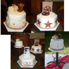Western wedding cake. Good idea for us to have a few small cakes. One chocolate, one vanilla or another flavor and another sugar free.