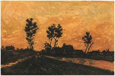 Vincent van Gogh, Oil on canvas, Landscape at Sunset
