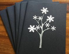 Hand Made Limited Edition Black Snowflake Tree Christmas / Holiday cards. Set of 5 cards. XCP01