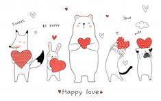 Draw vector illustration cute animal bear rabbit fox cat dog holding red heart for Valentine day. Cute Animal Illustration, Cute Animal Drawings, Cute Drawings, Valentines Illustration, Doodle Cartoon, Cartoon Drawings, San Valentin Vector, Valentines Watercolor, Baby Pigs