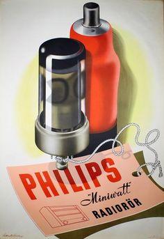Philips Radiorör 1946 ~Via Archibald Borges Radios, Vintage Advertising Posters, Vintage Advertisements, Pub Vintage, Original Vintage, Poster Ads, Poster Prints, Transistor Radio, Vacuum Tube