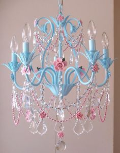 Decoration, Turquoise And Pink 5 Light Chandelier By A Vintage Girls Room: Adorable Chandeliers for Girls' Rooms