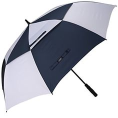 G4Free 68 Inch Automatic Open Golf Umbrella Double Canopy Extra Large Oversize Windproof Waterproof Stick Umbrellas(Navy/White)