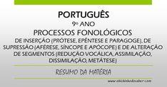 Português 9º | Processos fonológicos de inserção (prótese, epêntese e paragoge), de supressão (aférese, síncope e apócope) e de alteração de segmentos (redução vocálica, assimilação, dissimilação, metátese)