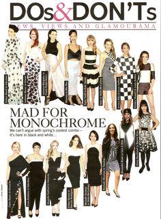 Do's & Don'ts Mad for Monochrome in Glamour Magazine featuring Rihanna, Julianne Moore, Jessica Alba, Kristen Stewart, Alexandra Burke & Rochelle Wiseman