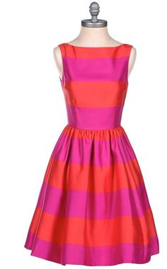 Kate Spade Pink Striped Satin Dress