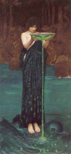 Circe Invidiosa - 1892 J. W. Waterhouse (6 avril 1849 - 10 février 1917) est un peintre britannique néoclassique et préraphaélite, célèbre pour ses tableaux de femmes inspirés de la mythologie et de la littérature.
