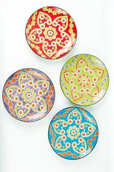 Set of Four Handpainted Ceramic Lotus Dinner Plates by Vagabond Vintage Painted Plates, Ceramic Plates, Ceramic Pottery, Decorative Plates, Pottery Painting Designs, Paint Designs, Hand Painted Pottery, Hand Painted Ceramics, Moroccan Plates