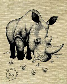 RHINO sg234  8x10 inch  Digital Illustration by SaguaroGraphics, $2.00