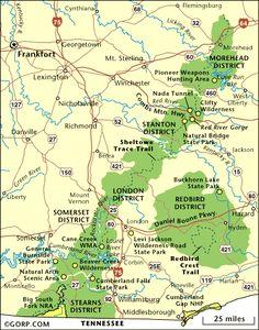 Kentucky Map of Daniel Boone National Forest - Red River Gorge, Natural Bridge, Cave Run Lake, Cumberland Falls  ...