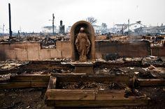 Escultura de la Santísima Virgen María que quedó en pie tras paso de #hurricanesandy en N.Y.