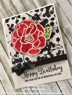 If you follow me on Facebook, you probably saw my Brusho swatches that I was playing around with. Well, I made them into cards. I will share the first one with you today. I used the big, bold, beautiful flower from the Beautiful Day stamp set as well as the...