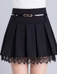 Mulheres Saias Acima do Joelho Casual / Simples Poliéster Micro-Elástica Mulheres de 4894625 2016 por R$43,91 Lace Trim Skirts, Lace Skirt, Skirt Fashion, Fashion Belts, Women's Fashion Dresses, Kawaii Clothes, Knife Pleated Skirt, Pleated Mini Skirt, Skater Skirt