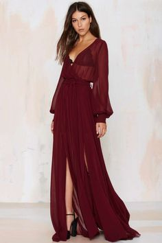 Go Your Own Way Chiffon Dress - Oxblood - Midi + Maxi