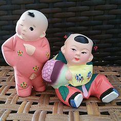 Vintage Handpainted Chinese Brother & Sister Playing - Of 3 (Zhang Figurine) on Carousell Chinese Babies, Tianjin, Clay Dolls, Brother Sister, Sisters, Hand Painted, Amp, Collection, Vintage