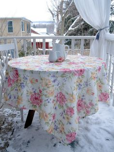 Tablecloth Shabby Roses Vintage Roses Cottage by mailordervintage