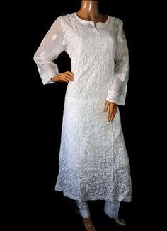 ISHIEQA's White Chikankari Cotton Kurti - DC2106C Types Of Stitches, Kurtis, White Cotton, Cold Shoulder Dress, Pure Products, Silk, Stuff To Buy, Beauty, Tops