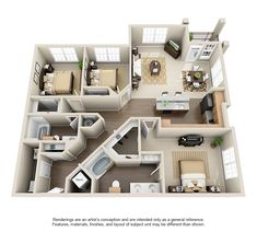 Luxury 1 2 & 3 Bedroom Apartments in Missouri City TX Apartment Layout, 3 Bedroom Apartment, Bedroom Layouts, House Layouts, Modern Bedroom Design, Contemporary Bedroom, House Construction Plan, Sims House Design, Sims House Plans