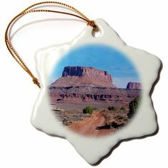 3dRose White Rim Road - Canyonlands National Park, Snowflake Ornament, Porcelain, 3-inch