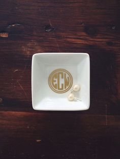 // monogrammed dish for my one of bedside tables to put jewelry in before i go to bed.