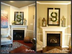 A fireplace redo! The answer to two nasty corner fireplaces. Finally, Don't decorate them, close 'em up.