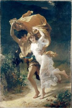 Handmade oil painting reproduction of Pierre Auguste Cot The Storm - on canvas and available in any size or choose another work from more than 250,000 different oil paintings and 25,000 artists. The highest quality paintings and great customer service!