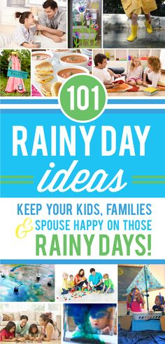 This list of Rainy Day Ideas will keep my family happy and busy for days! www.TheDatingDivas.com