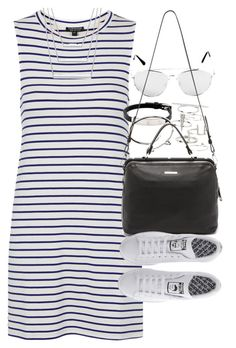 """Outfit with a striped dress and sneakers"" by ferned on Polyvore featuring Topshop, Cartier, Linea Pelle, adidas, women's clothing, women, female, woman, misses and juniors"