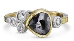 Skinny Pebbles ring in 18k yellow gold and palladium with 2.37 cts. t.w. black diamond and rose-cut white diamonds, $2,595; Rona Fisher