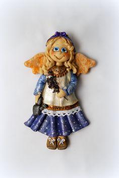 anioł z masy solnej, lawenda, salt dough angel
