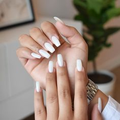 Need a new shade? Try #ICouldntBareLess for the perfect subtle #white mani.   by: @nailsby_mai  #white #whitenails #opi #summernails #manicure #nails White Polish, White Nail Art, White Nails, Gel Manicure, Gel Nail Polish, Baby Shower Nails, New Years Eve Nails, Bridal Nails, Powder Nails