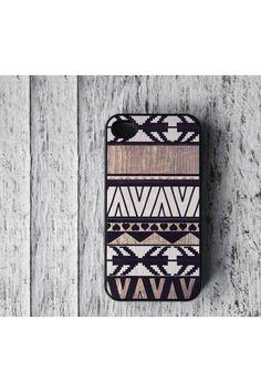 BlissfulCASE Geometric Art On Wood Print iPhone 4 Case