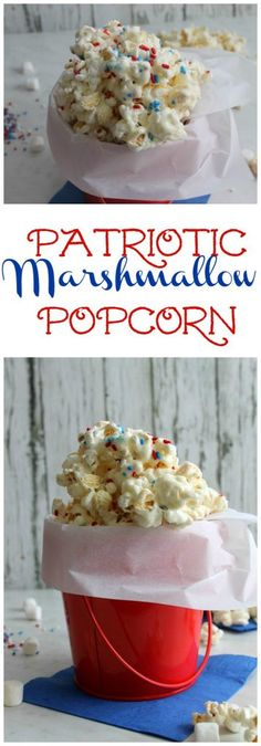 Easy to make, kid friendly Patriotic Marshmallow Popcorn Snack! A lip-smacking tasty treat for Memorial Day or the Fourth of July!