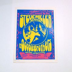Steve Miller Band Concert Poster -August 16, 1995 - Tulsa, Oklahoma Mohawk Park - with the Doobie Brothers -- David Dean Artwork  This poster is original and was from our Mohawk Music Record Store in Tulsa, Oklahoma. Measurements: 24 x 18 inches approximately Condition: Good condition with just one bend to lower left corner where it once got damp, plus a few minor spots along the white borders. It could easily be trimmed. It was Never Hung and is a color glossy thick paper poster Very nice…