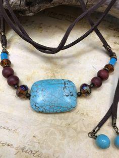 Turquoise leather choker, boho choker,chokers, boho style, gift for her, turquoise choker, leather wrap choker by JewelrygypsyDesigns on Etsy