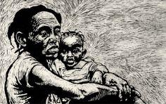 Isaiah King Support Haiti Woodcut