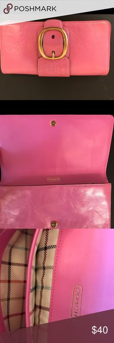 Hot pink Coach clutch Hot pink leather clutch handbag with minimal wear. Coach Bags Clutches & Wristlets