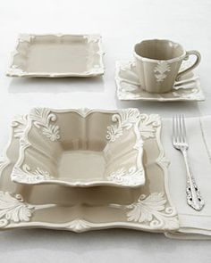 Shop Taupe Square Baroque Dinnerware Service at Horchow, where you'll find new lower shipping on hundreds of home furnishings and gifts. Deco Table, Dinner Sets, Dinnerware Sets, China Patterns, Decoration Table, Home Furnishings, Taupe, Kitchen Decor, Table Settings