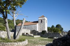 The church of Saint Lucy in Jurandvor on the island of Krk where Baška Tablet (containing an inscription in Croatian) dating from the year 1100 was found in 1857 integrated in its paving