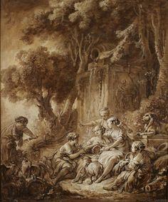 François Boucher (Paris 1703 - 1770) Scène Pastorale. Huile sur papier marouflé sur toile. Il est fils unique du peintre de l'académie de Saint-Luc, Nicolas Boucher. Après une formation auprès de François Lemoyne, il remporta le Prix de Rome en 1723  et séjourna en Italie de 1727 à 1731.