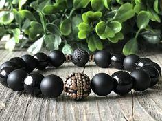 10 mm Gemstone black bracelet stretch wanderlust bracelet