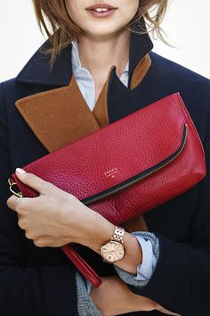 Carry the color of the season (and cause clutch envy.) #Fossil Preston Foldover in Ruby Wine.