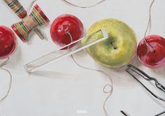 あ Caramel Apples, Asian Art, Watercolor, Fruit, Food, Design, Japanese, Draw, Pen And Wash