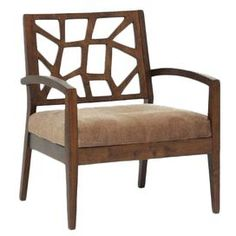"""Product: Lounge chairConstruction Material: Wood, polyurethane foam cushioning and fabricColor: Beige and brownFeatures: Modern design backrest with cut-out patternWide seat spaceBrown ribbed microfiber seat Ships fully assembledDimensions: 32"""" H x 27.5"""" W x 24.62"""" DCleaning and Care: Avoid prolonged exposure to direct sunlight and wipe clean with dry cloth"""