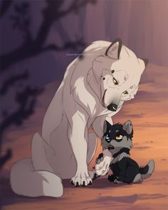Azzai and her mom by azzai on DeviantArt - Anime Wolf Pet Anime, Anime Animals, Manga Anime, Anime Kiss, Anime Hair, Anime Angel, Anime Naruto, Furry Wolf, Furry Art